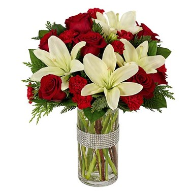Dazzling Holiday Rose & Lilies Bouquet (BF364-11KL)